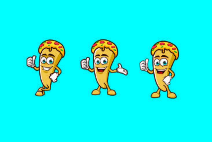 Projetos do logotipo da mascote do caráter da fatia da pizza