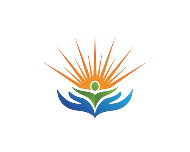 People care and sun nature therapy vector logo