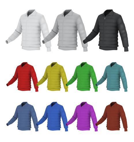 Conjunto de modelo de jaqueta para baixo isolado no branco