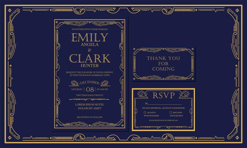 Classic Navy Premium Vintage Style Art Deco Engagement / Wedding Invitation Navy with gold color with frame. Include Thank you Tags and RSVP. Vector Illustration - Vector - Vector