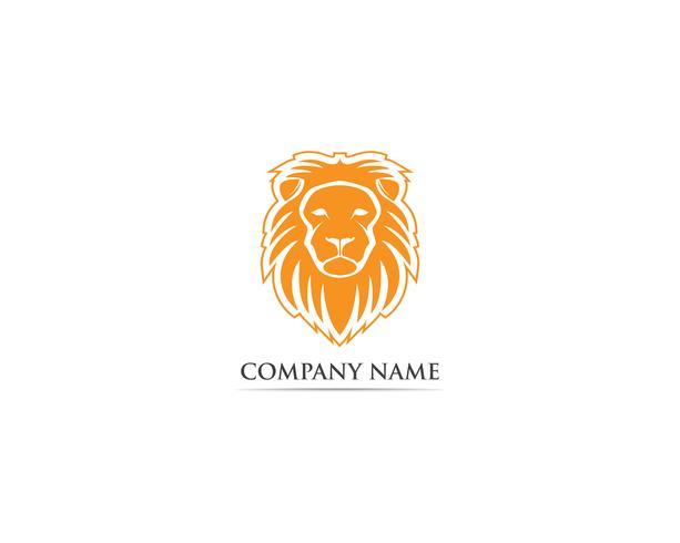 Leone logo mascotte testa e simbolo vettoriale