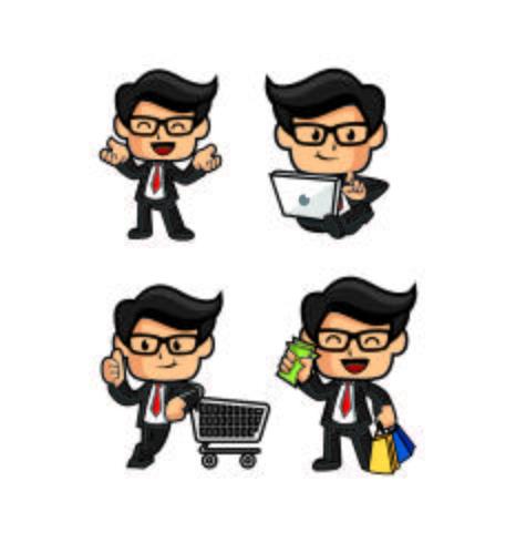 mignonne conception de mascotte shopping homme d'affaires