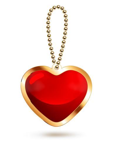 Colgante de oro con corazón de cristal rojo.