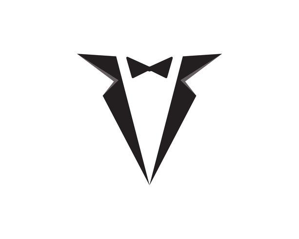 Logotipo de cor preta de homens de smoking e símbolos vector