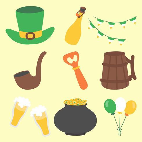 Conjunto de ícones de dia de Saint Patrick mão desenhada