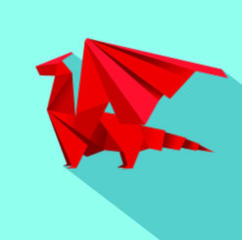 draak geometrische origami ontwerp