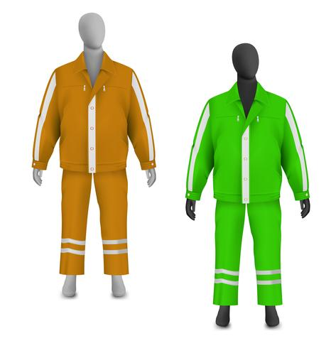 Safety jacket and pants set on mannequin