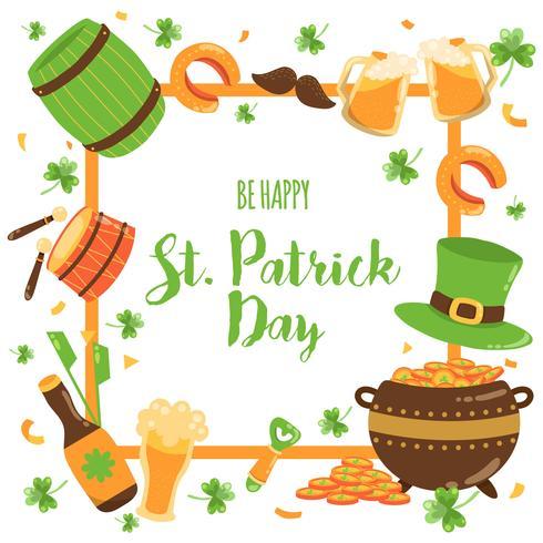 Fondo di giorno di San Patrizio disegnato a mano. Musica irlandese, cappello di leprechaun, bandiere, boccali di birra, pentola di monete d'oro. Vector-illustrazione