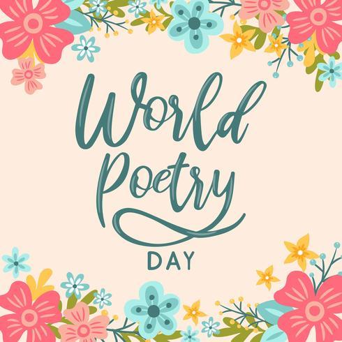 Main lettrage monde fleur fond jour de la poésie - illustration vectorielle vecteur