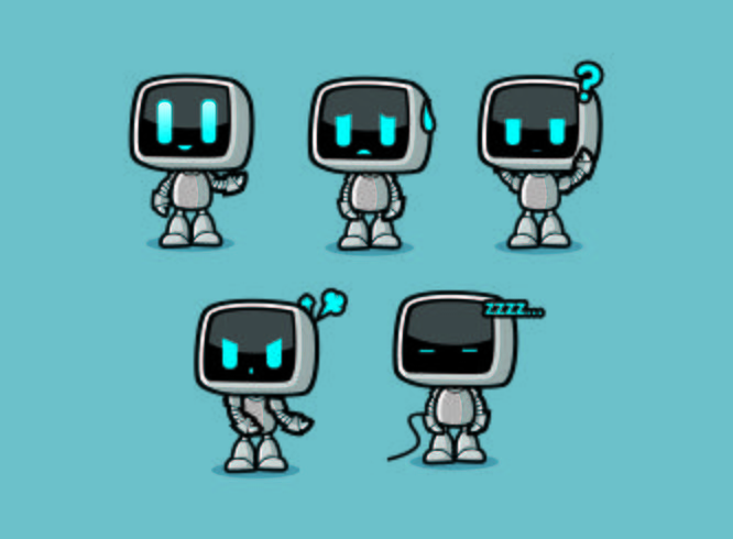 cute Robot Box Character Designs with emotions poses