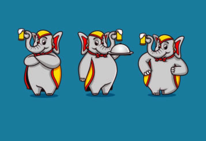 Mascotte di elefante ristorante personaggio