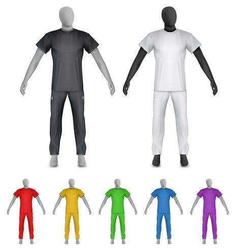 Einfaches T-Shirt und Jogginghose auf Mannequinschablone vektor