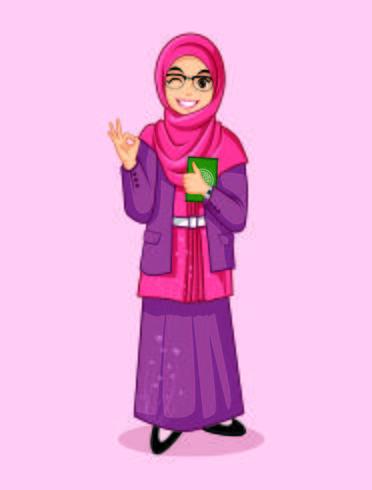 disegni mascotte musulmana muslimah personaggio