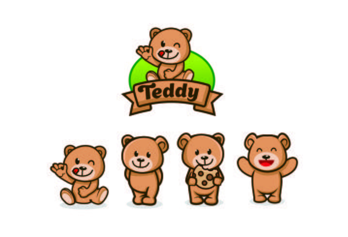 simpatici disegni mascotte personaggio orsacchiotto