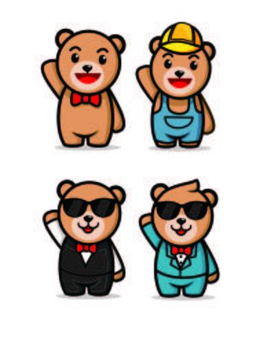 dessins mignons de mascotte de personnage ours en peluche