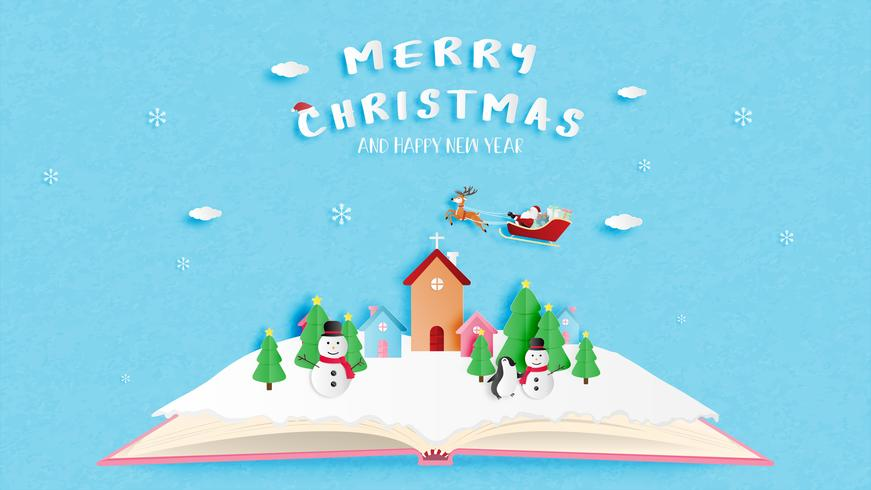 Merry Christmas and Happy new year greeting card in paper cut style. Vector illustration Christmas celebration background.