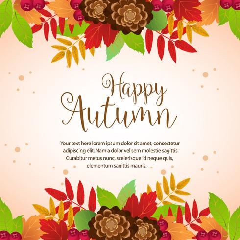 felice autunno fogliame colorato confine