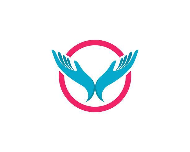 Icône de vecteur de soins des mains Logo Template Business