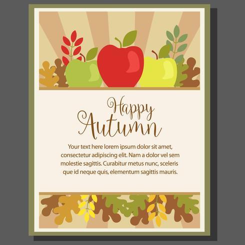 Cartel de tema otoño feliz con manzana en estilo plano