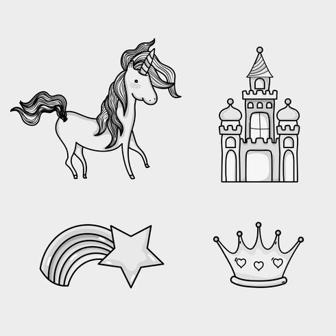 icone di doodle mondo fantastico e magico