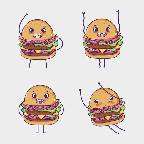 Cartoni kawaii di raccolta di fast food