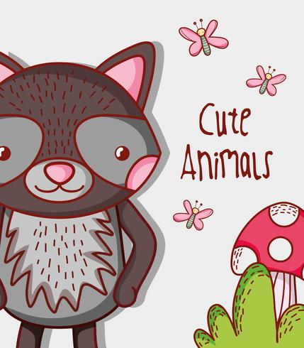 Schattig wasbeer doodle cartoon