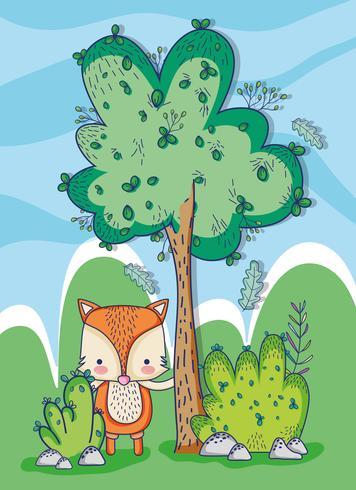 La volpe nella foresta scarabocchia i cartoni animati