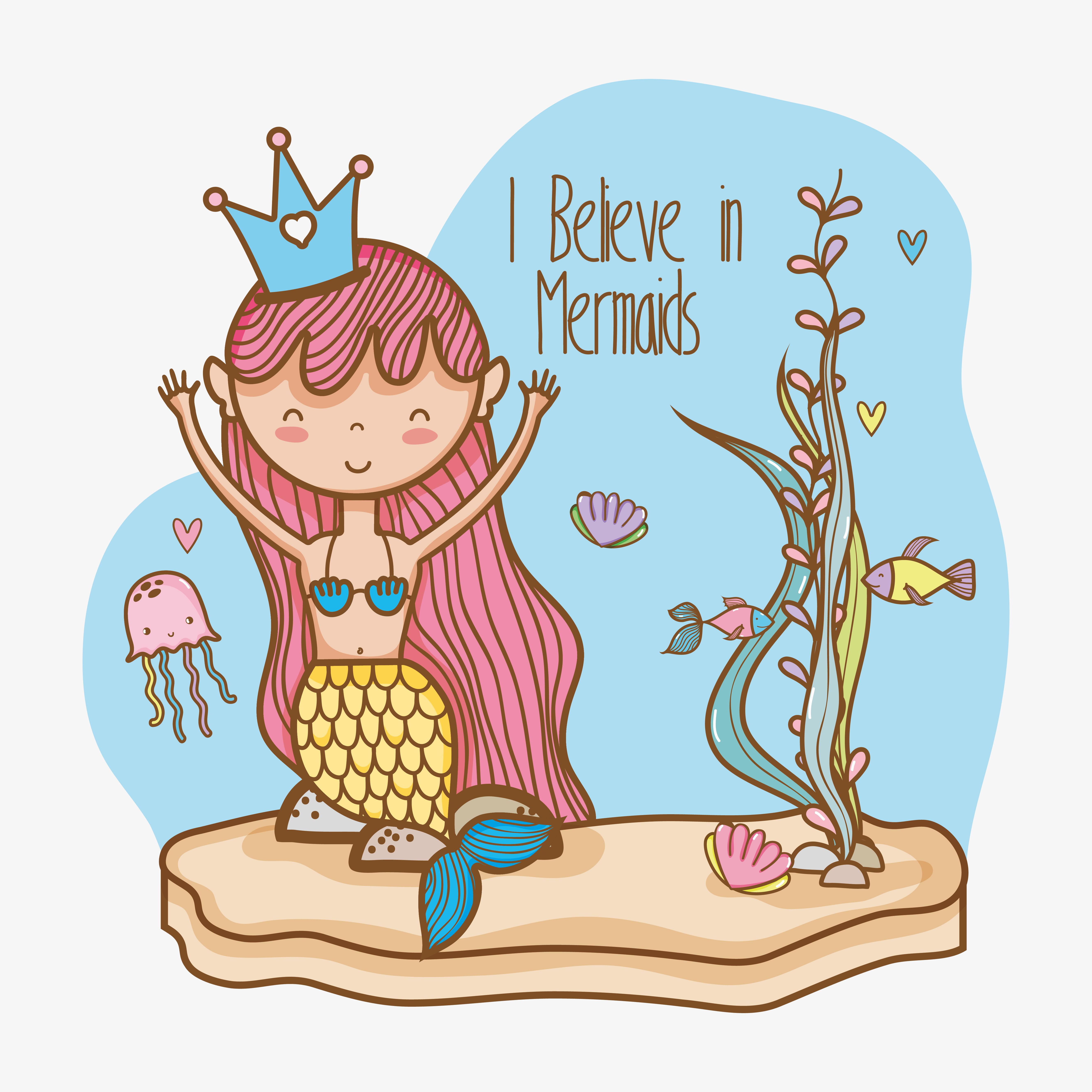 Little mermaid art cartoon - Download Free Vectors ...