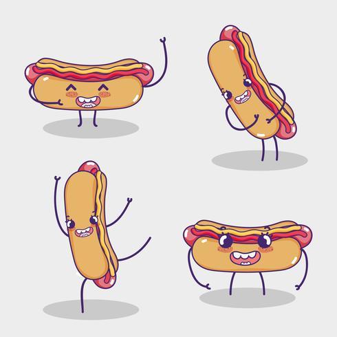 Fast-Food-Sammlung Kawaii Cartoons