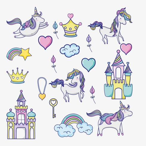 monde imaginaire et magique doodle icônes
