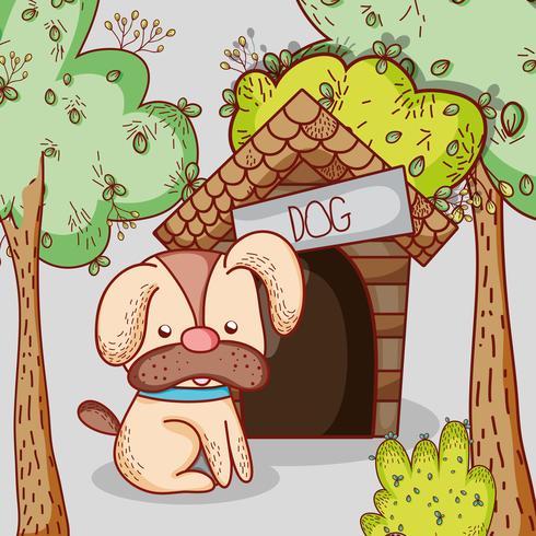 Hond op huis doodle cartoon