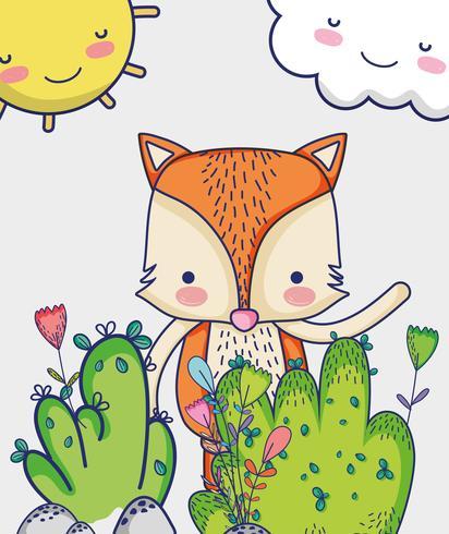 Fox en el bosque dibujos animados de doodle
