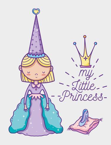 Fumetto sveglio del disegno della mano della piccola principessa