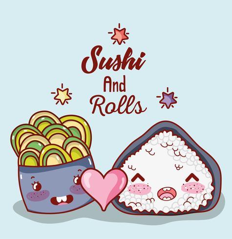Sushi y rollos lindos dibujos animados kawaii vector
