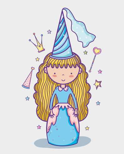 Liten prinsessa söt handteckningstecknad