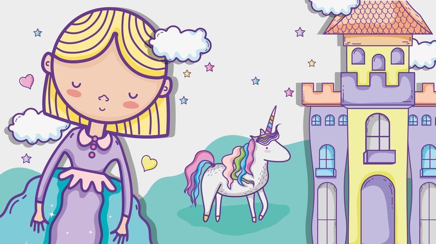 Fumetto sveglio del disegno della mano della piccola principessa vettore