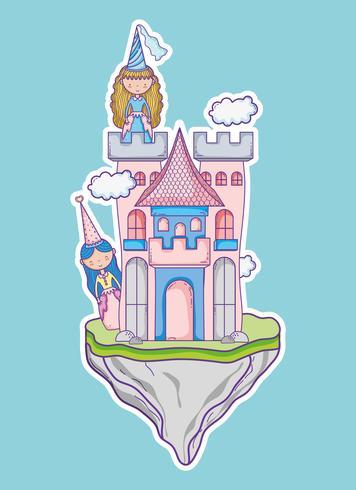 Pequena princesa fofo mão desenho cartoon