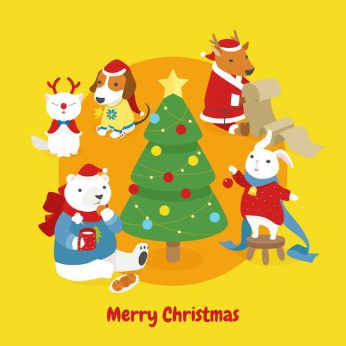 Söt djur dekorera julgran.
