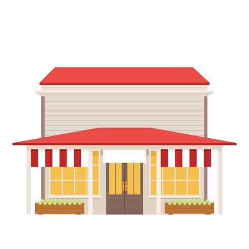 Edificio basso in stile negozio rurale.