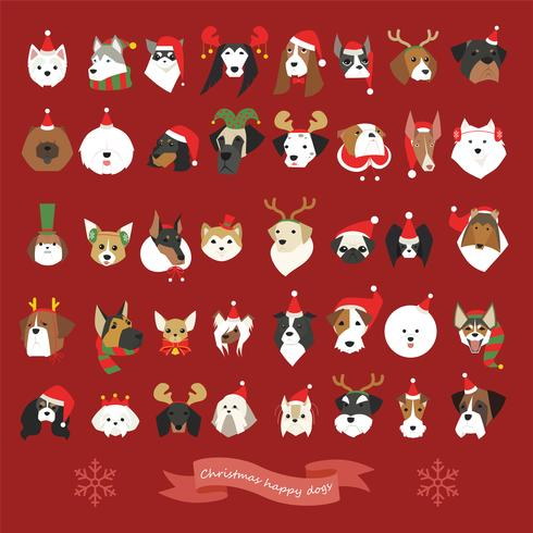 En uppsättning av många hundar ansikten bär julkläder.
