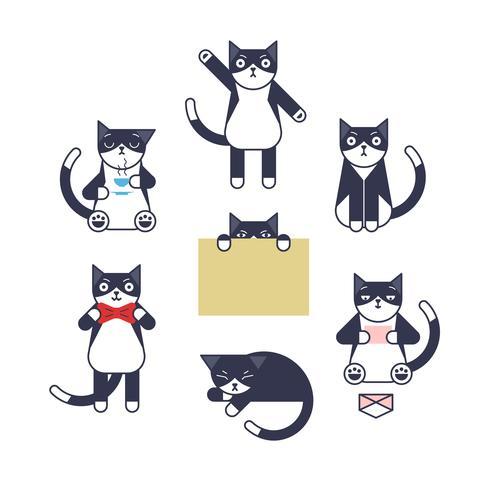 Jeu de caractères de chat de style de contour.