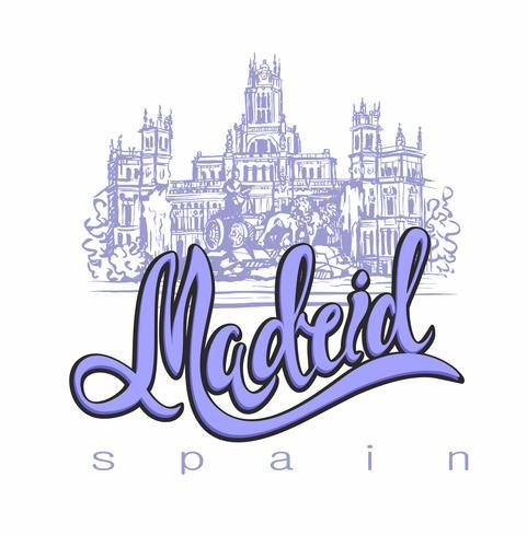 Reizen. reis naar Spanje. Stad van Madrid. Schetsen. Cybele Palace en fontein op de Plaza Cibeles in Madrid, Spanje ... Ontwerpconcept voor de toeristenindustrie. Vector illustratie.