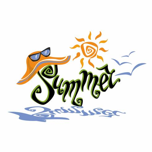 Summer. Lettering.  Greeting. Sun, seagulls. Sun hat and sunglasses. Design concept for tourism. Vector.