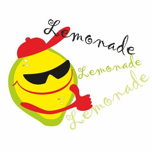 Limonada. Letras. Cartoon lemon man te invita a tomar una maravillosa bebida fresca. vector.