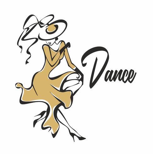 Bailarín. El logo para la industria de la danza. Chica con vestido dorado y sombrero bailando.