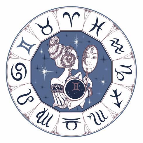 Segno zodiacale Gemelli una bella ragazza. Oroscopo. Astrologia. Vettore.