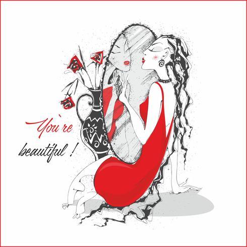 Eres hermosa. Inscripción. Tarjeta postal. La chica del vestido rojo cerca del espejo. Vector