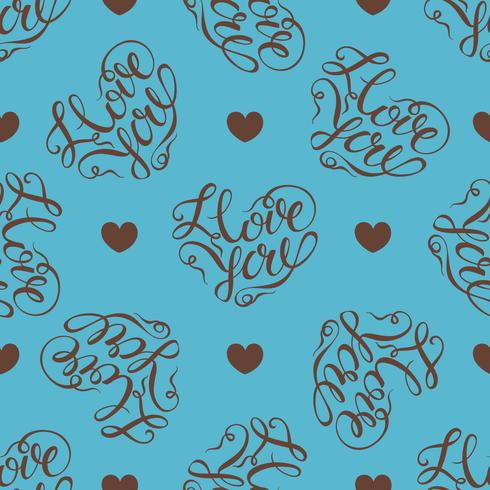 Seamless pattern. hearts on turquoise background. Stylish lettering in the shape of a heart. I love you. Vector.