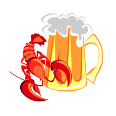 Lobster,  cancer and beer. A mug of beer. Design for gastronomy and beer advertising. Vector
