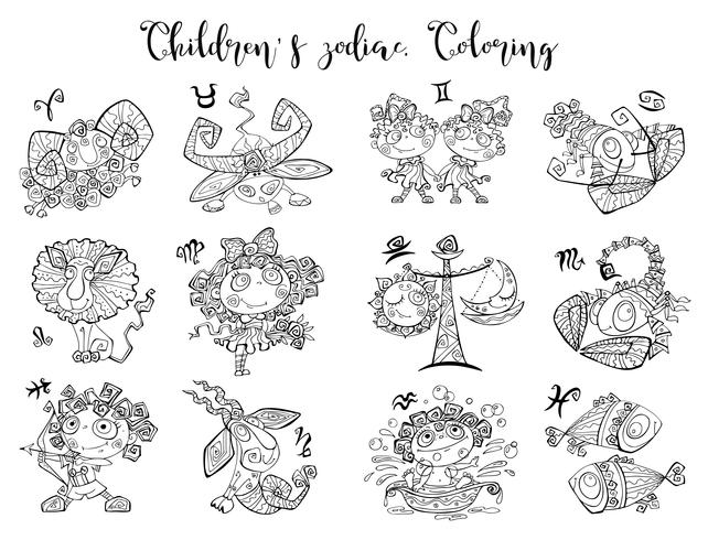Signes du zodiaque pour les enfants. Coloration. Illustration vectorielle